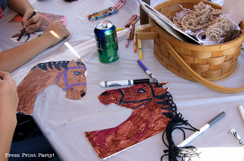 Country Cowgirl Western Party by Press Print Party! Horse on a stick craft