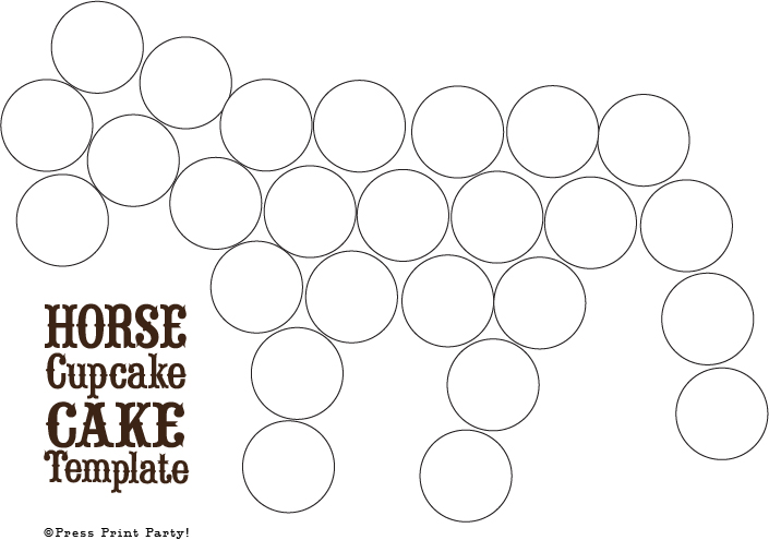 Horse Cupcake Cake Template How to by Press Print Party!
