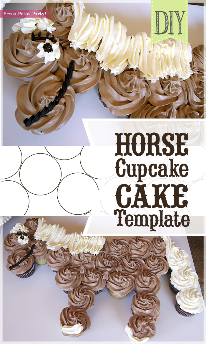 horse cupcake cake cupcake cake how to w free template by press print 4850