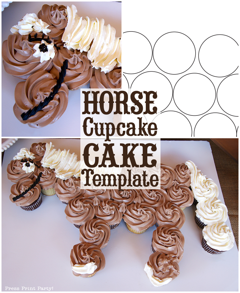 Horse Cupcake Cake How To – With Template