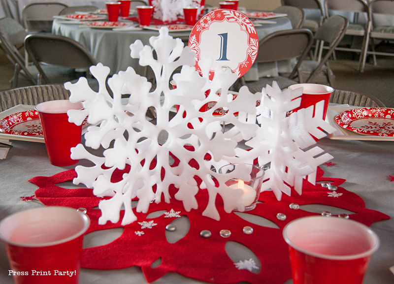 Red and White Christmas Table Snowflake Wonderland