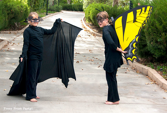 Girl in bat costume and girl in butterfly costume - Press Print Party!