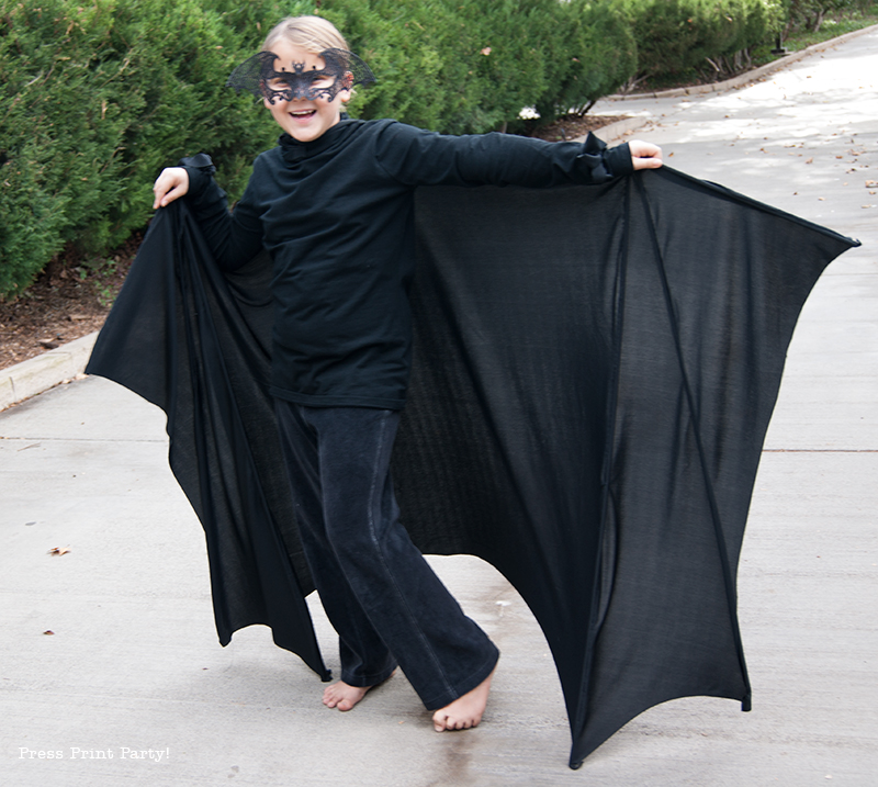 Bat Costume DIY - Halloween - By Press Print Party!