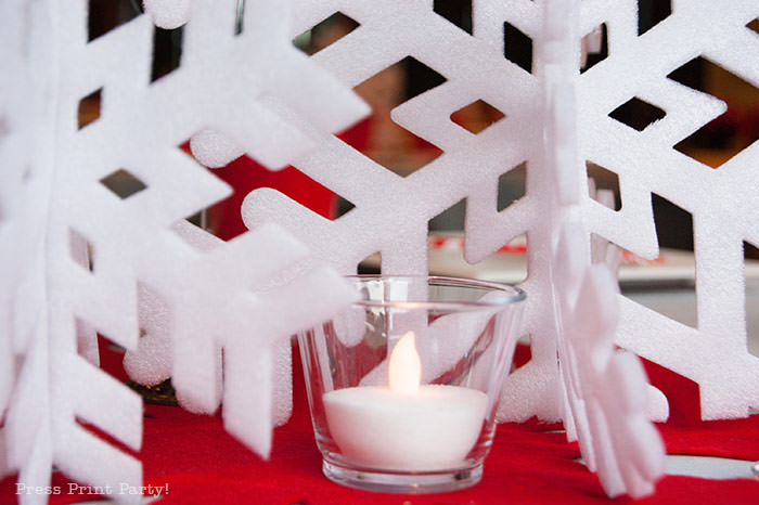 DIY Christmas Centerpiece with candles Ideas red snowflake white foam snowflake on red felt snowflake table number 1 press Print Party!