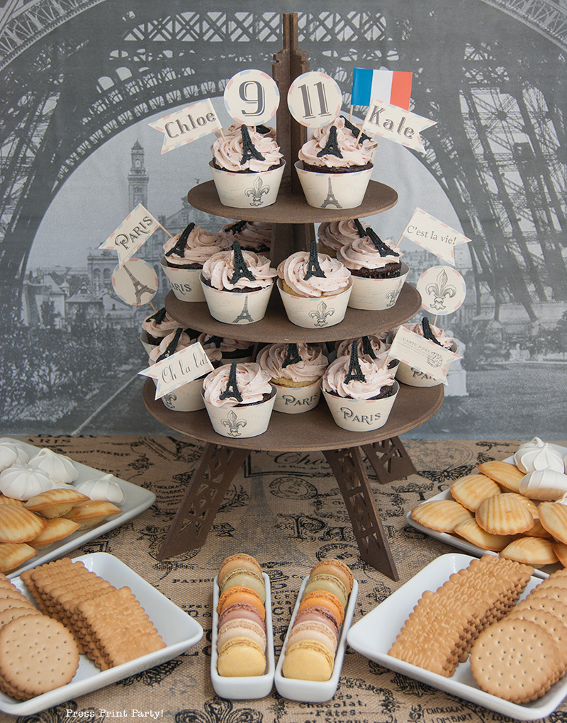 Cupcakes - Paris Party with a French Vintage flair - Press Print Party!