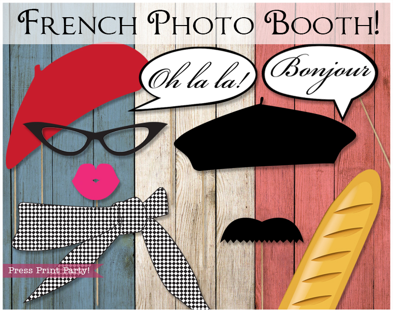Bien-aimé French Photo Booth Props Paris Party - Press Print Party PM11
