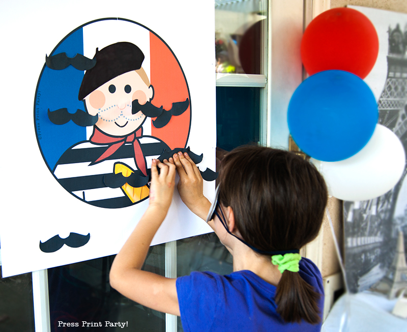 Pin the mustache on the French guy printable- Press Print Party!