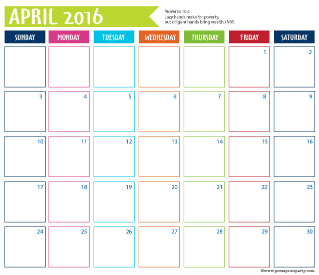 2016 Calendar for Bullet Journal -April - Press Print Party