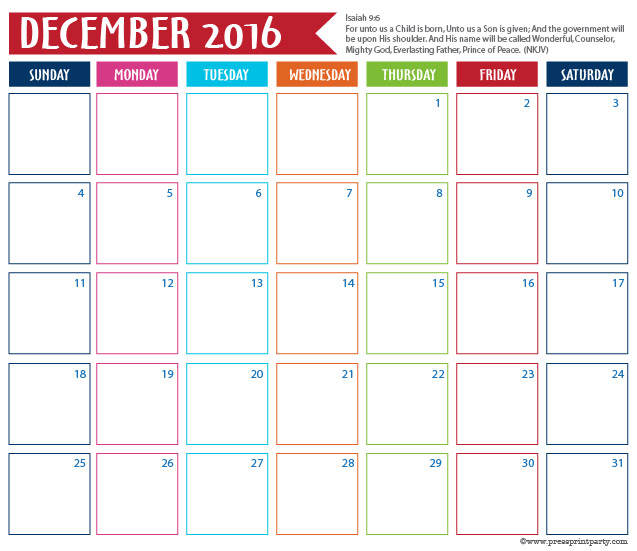 2016 Calendar for Bullet Journal - December - Press Print Party
