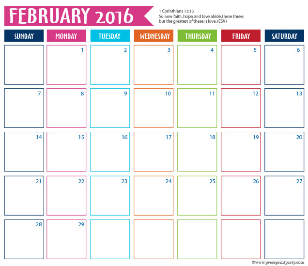 2016 Calendar for Bullet Journal - February - Press Print Party