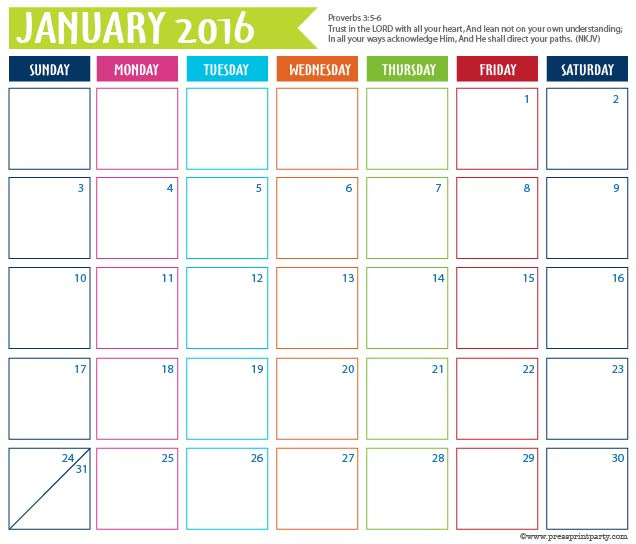 2016 Calendar for Bullet Journal - January - Press Print Party