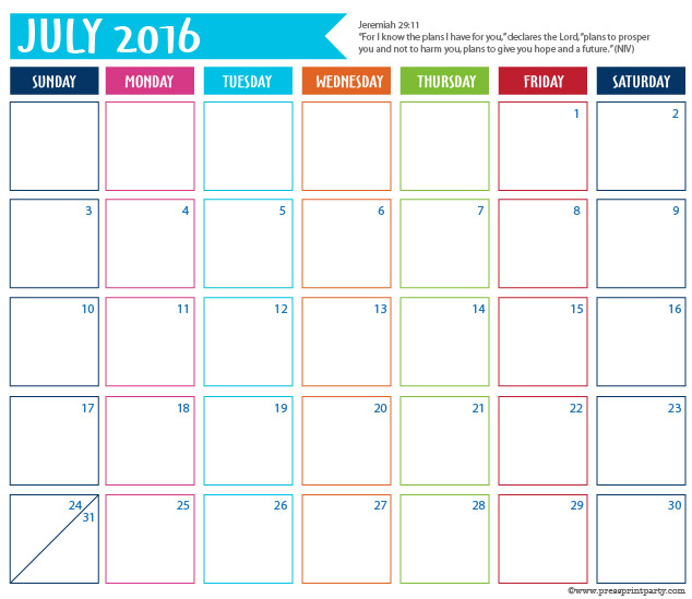 2016 Calendar for Bullet Journal -July - Press Print Party