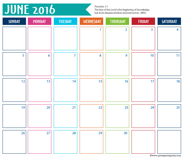 2016 Calendar for Bullet Journal - June - Press Print Party