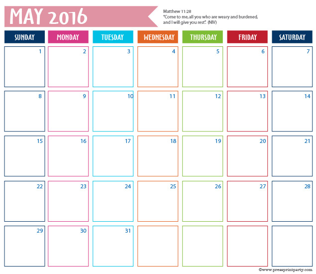 2016 Calendar for Bullet Journal - May - Press Print Party