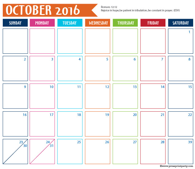 2016 Calendar for Bullet Journal - October - Press Print Party