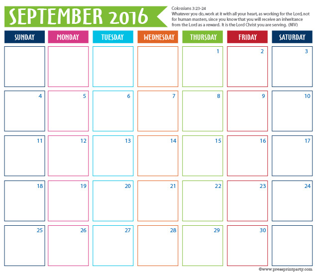 2016 Calendar for Bullet Journal -September - Press Print Party