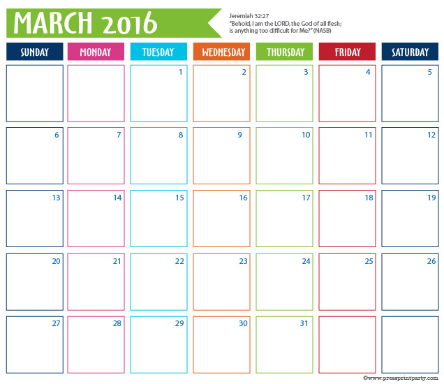 2016 Calendar for Bullet Journal -March - Press Print Party