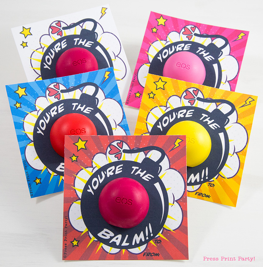Free EOS Balm Valentine's Day Card Printables - By Press Print Party!