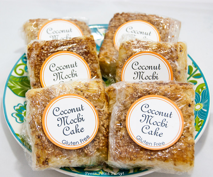 Cocomut butter mochi cakes wrapped with label