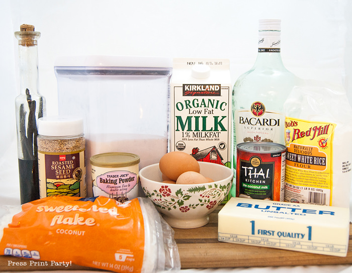 Ingredients for Hawaiian cocconut butter mochi cake recipe