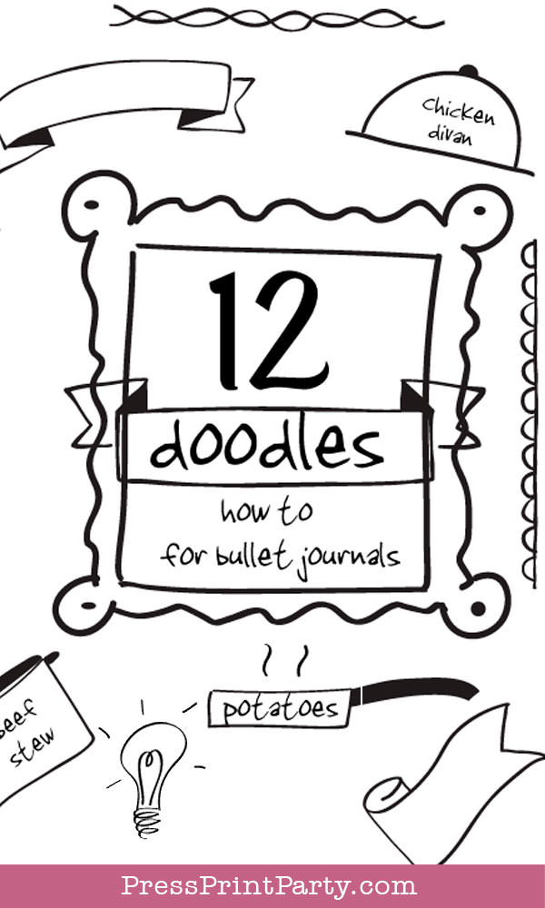 12 doodles how to for bullet journals and fun. Press Print Party