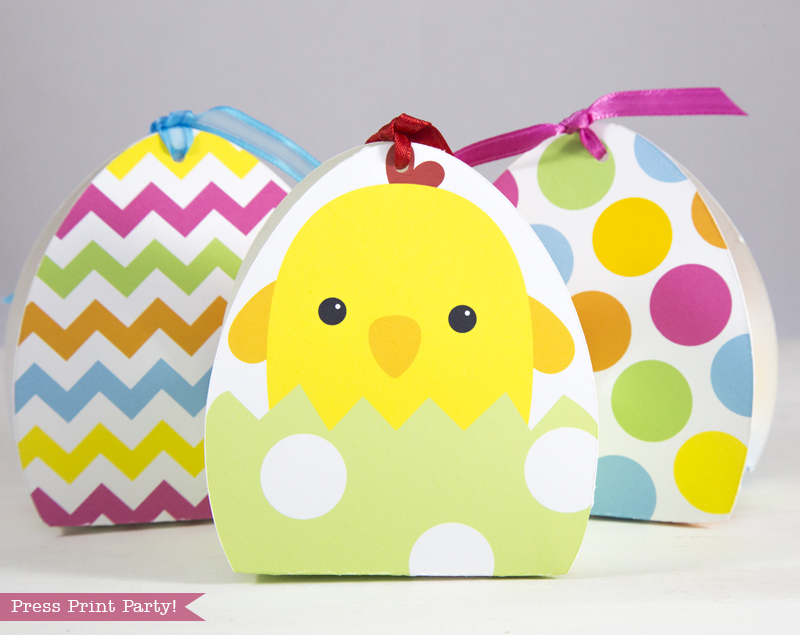 3 Adorable Easter Basket Treat Boxes Printables