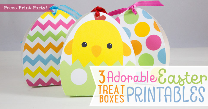 3 adorable Easter treat boxes for baskets - Press Print Party!