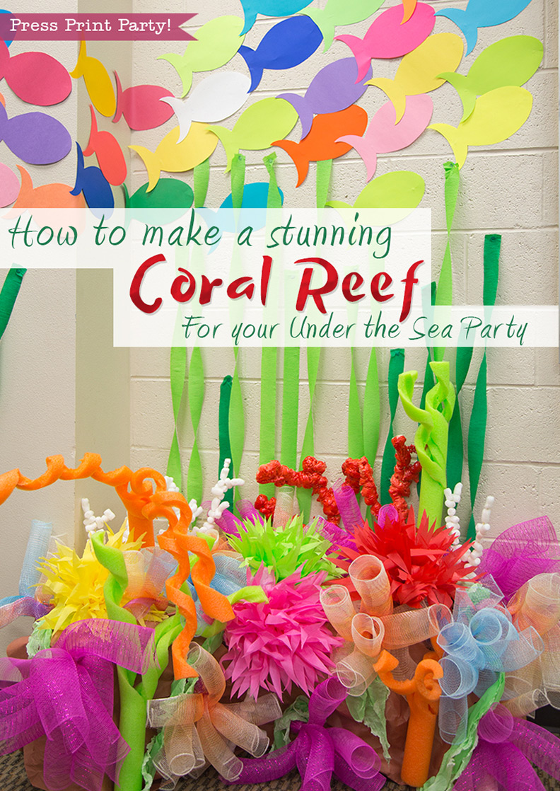 How to make a coral reef decoration by press print party how to make a stunning coral reef for your under the sea party mermaid party sciox Image collections