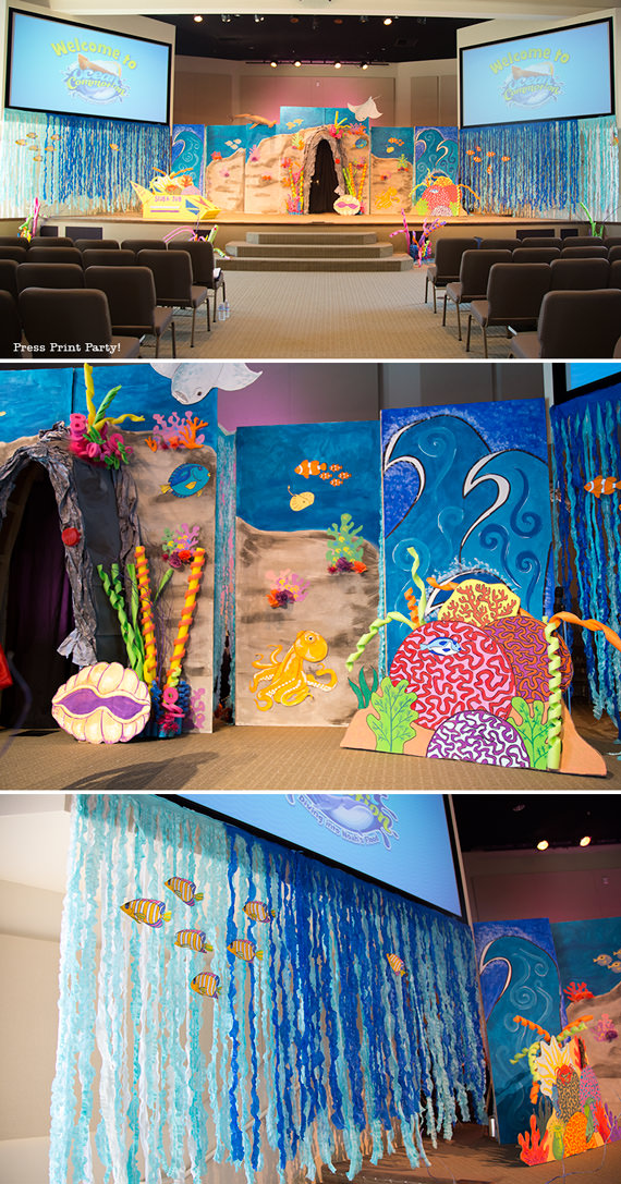 Amazing Under the Sea Party Decorations. Originaly for Ocean Commotion VBS. Great for a mermaid or nemo party. Sanctuary decorations.Press Print Party!