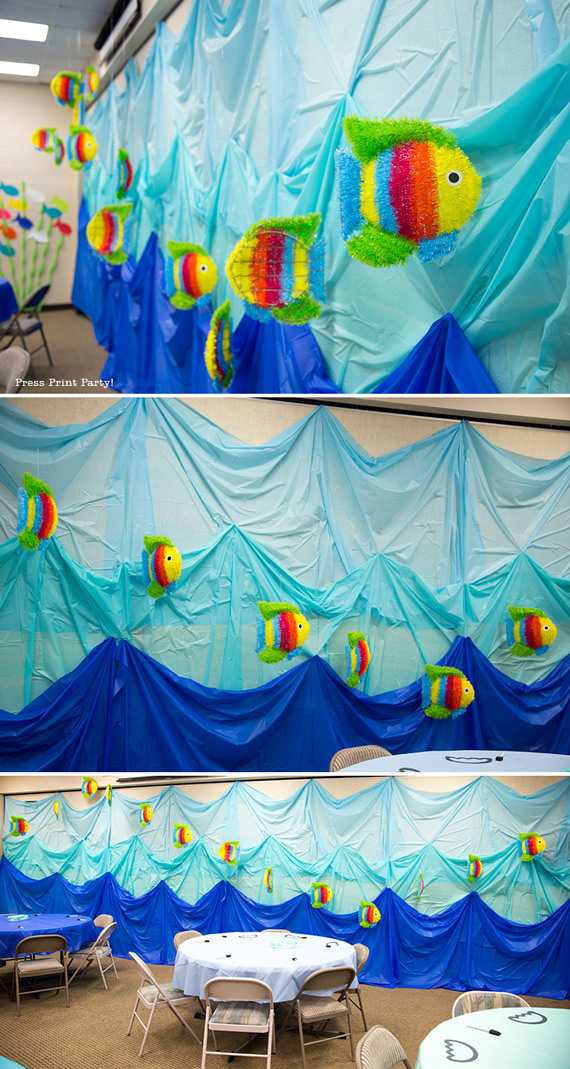 Amazing Under the Sea Party Decorations. Originaly for Ocean Commotion VBS. Great for a mermaid or nemo party. wall of fish - Press Print Party!