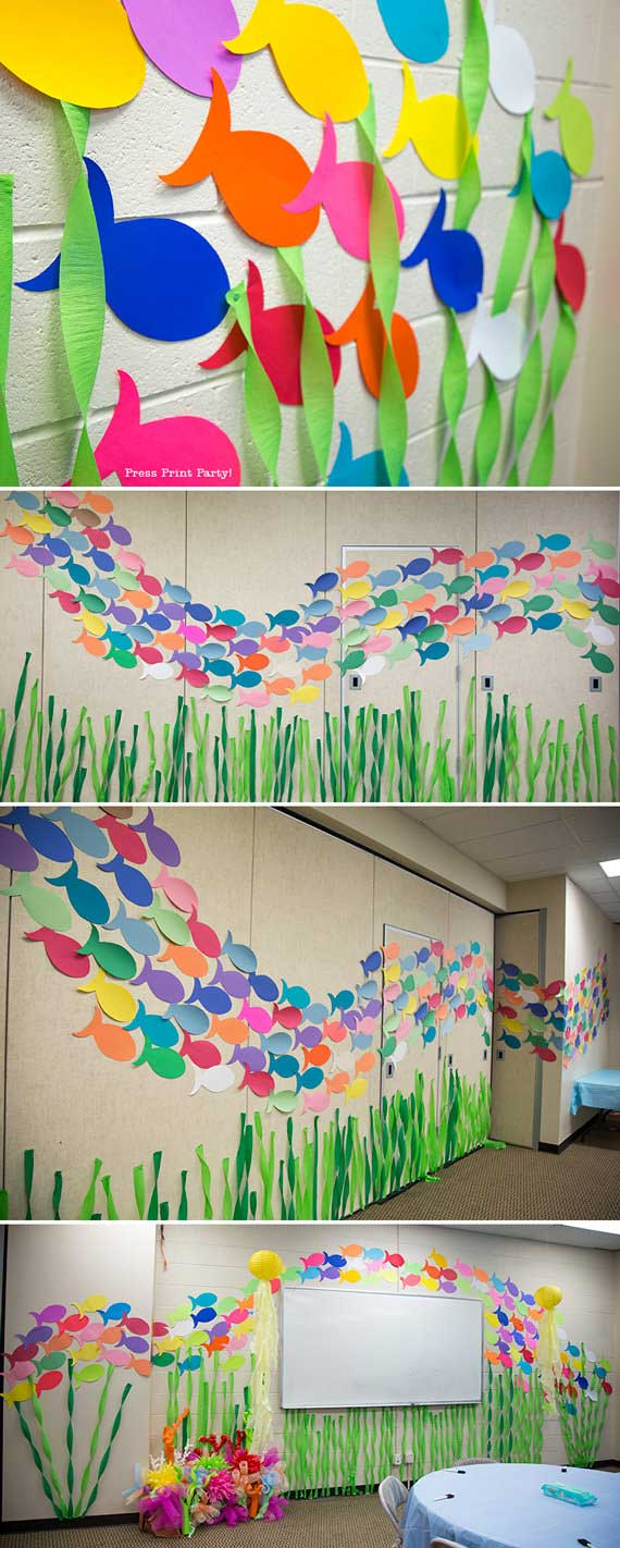 FREE Fish template for school of fish backdrop