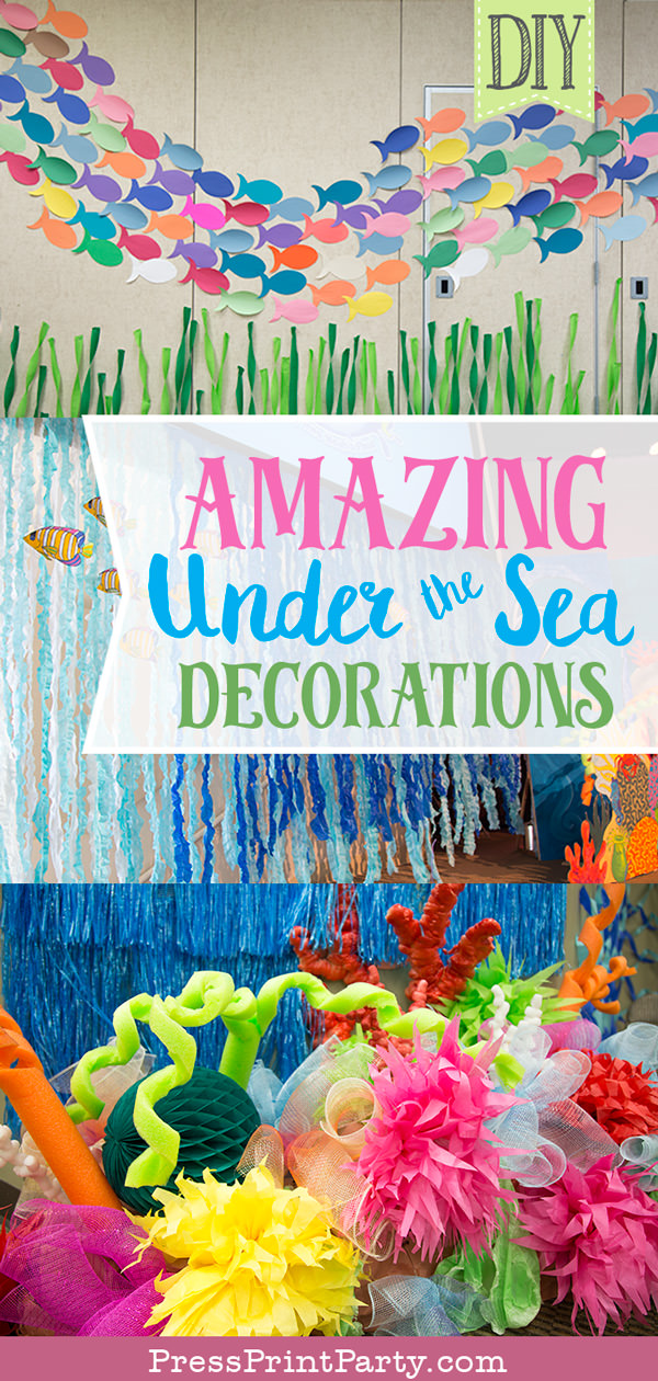3 pictures of under the sea decorations for classroom or vbs