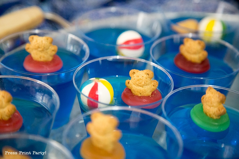 Easy Swimming Teddy Bears Jello Cup Treats for a Pool Party!