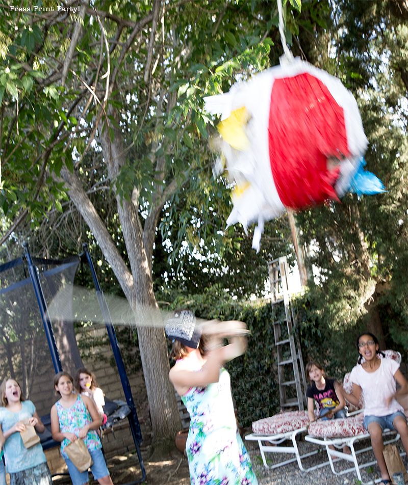 Pool Party Beach Ball Birthday Bash - Ideas and decorations by Press Print Party! Beach ball pinata