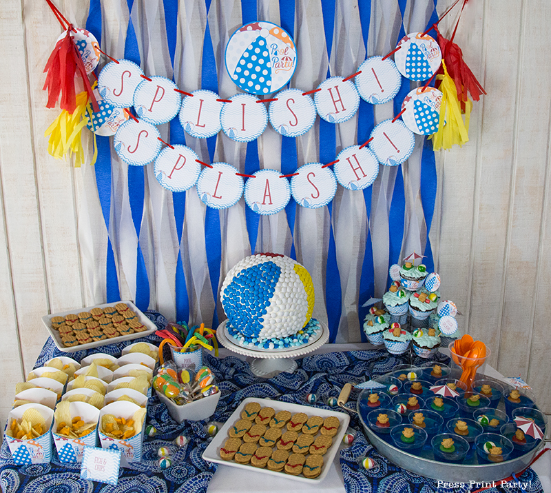 Pool Party Beach Ball Birthday Bash - Ideas and decorations by Press Print Party! Beach ball cake and table