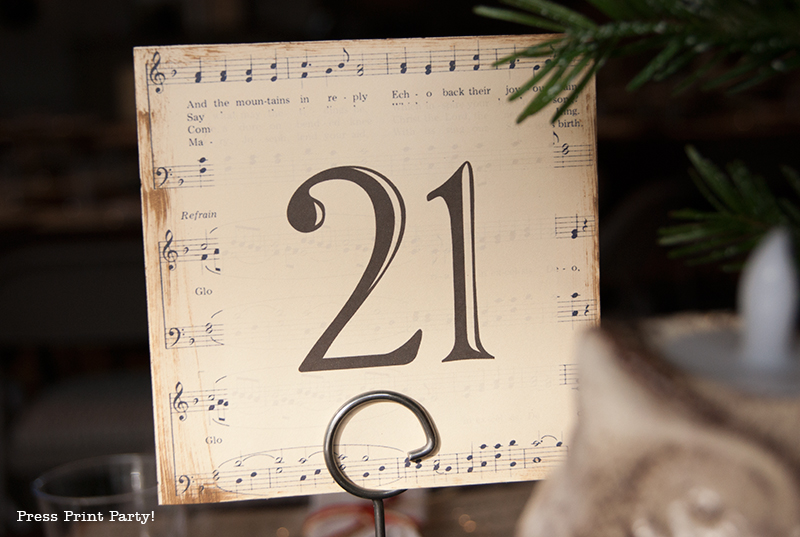 Rustic Christmas Centerpiece - Table numbers - Free Printable - By Press Print Party!