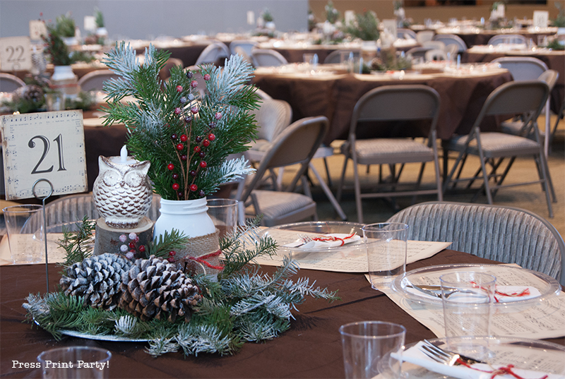 Rustic Christmas Centerpiece - Rustic Owls - Free Printable - By Press Print Party!