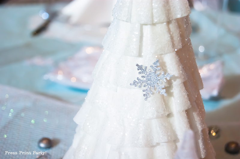 Christmas Winter Wonderland Centerpiece DIY by Press Print Party! Coffee filter paper tree.