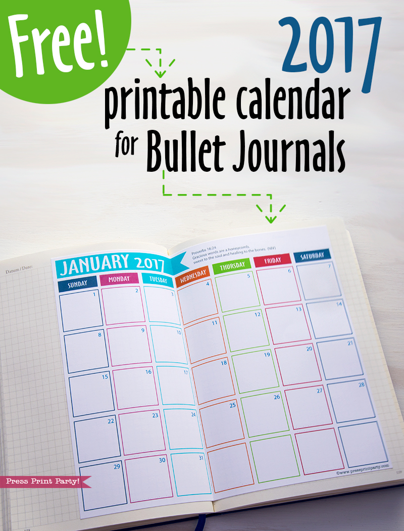 Calendar Bullet Journal : Free printables archives page of press print party