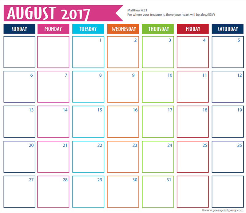 FREE 2017 Bullet Journal Printable Grid Calendar - Planners and Bujos - By Press Print Party! Augustl 2017 calendar