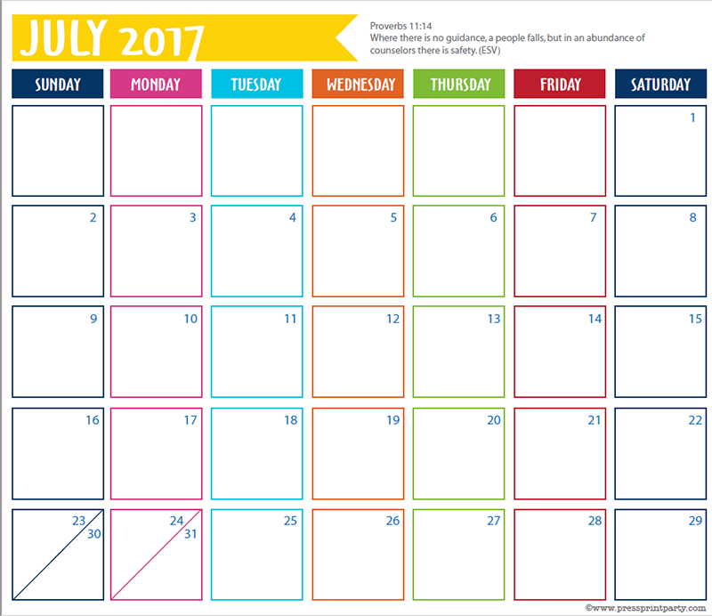FREE 2017 Bullet Journal Printable Grid Calendar - Planners and Bujos - By Press Print Party! July 2017 calendar