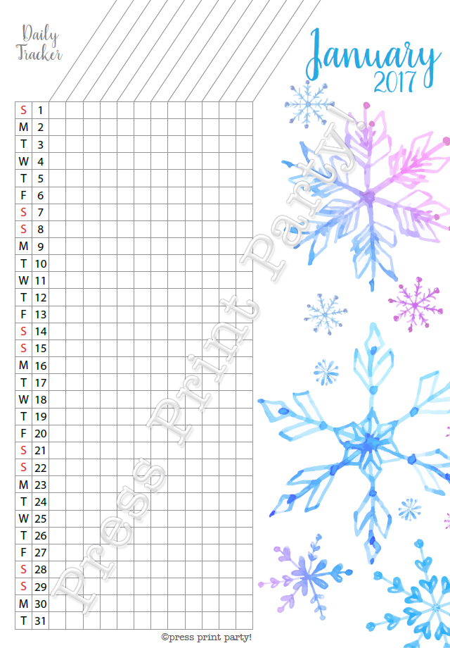 2017 Daily Task Tracker Printable for Bullet Journals - Press ...