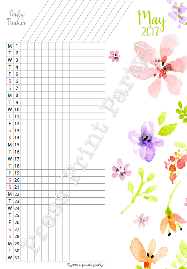 2017 Daily Task Tracker for Bullet Journals - May - Watercolors - by Press Print Party!