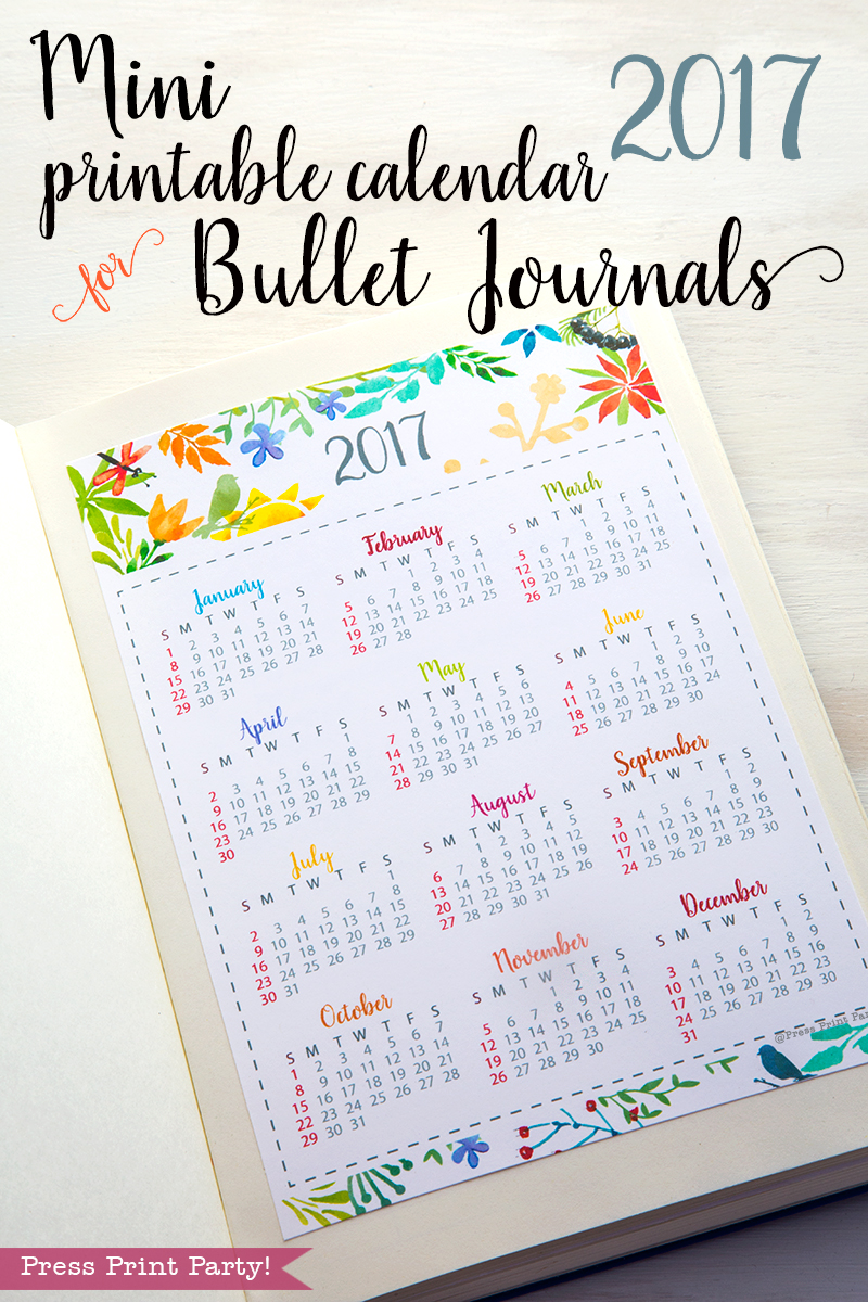 Mini 2017 Calendar Printable for Bullet Journals – Watercolor Designs