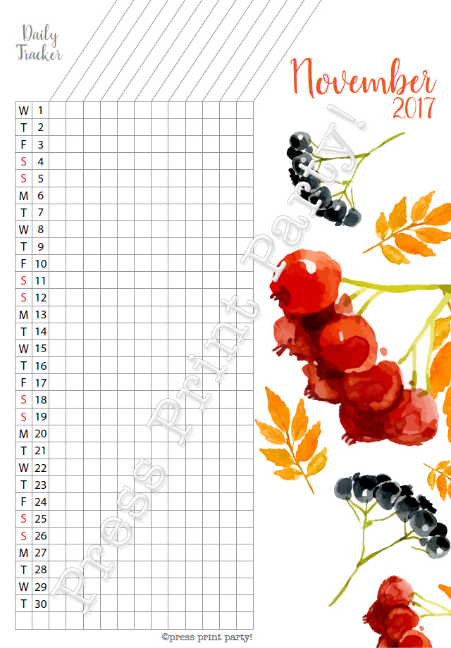 2017 Daily Task Tracker for Bullet Journals - November - Watercolors - by Press Print Party!