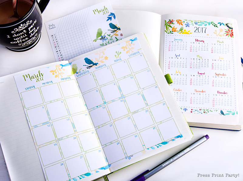 2017 Calendar Set Printable for Bullet Journals – Watercolor Designs