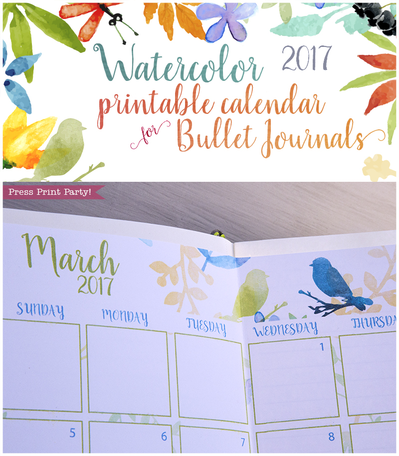 2017 Calendar Printable for Bullet Journals - Vibrant Watercolors - By Press Print Party!