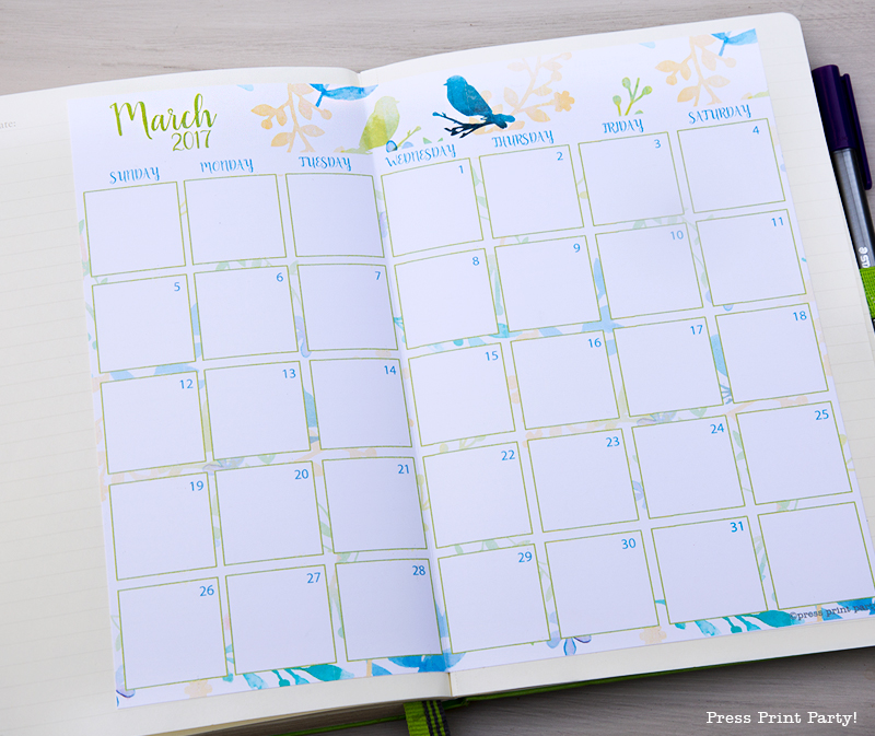 2017 Calendar Printable for Bullet Journals – Watercolor Designs