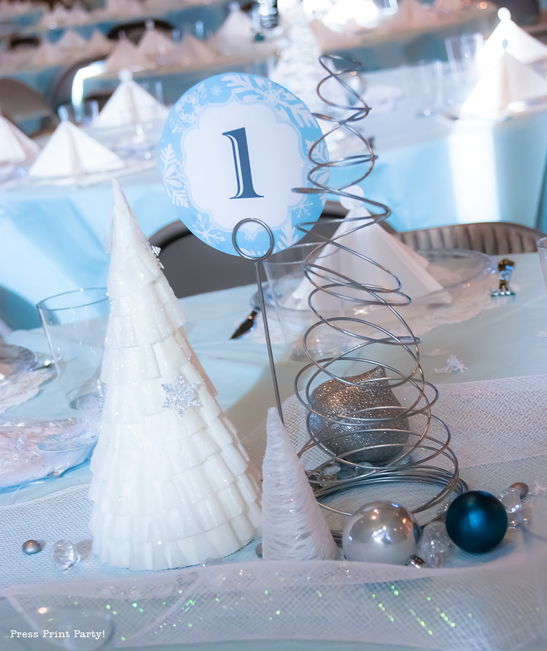 Christmas winter wonderland table decor by press print party