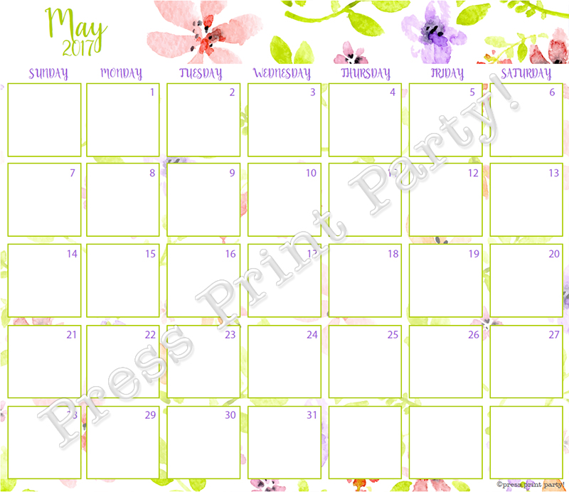 2017 Calendar Printable for Bullet Journals - Vibrant Watercolors - By Press Print Party! May 2017